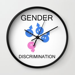 Gender discrimination- male cartoons bullying a female gender Wall Clock