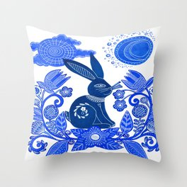 Blue Rabbit Throw Pillow
