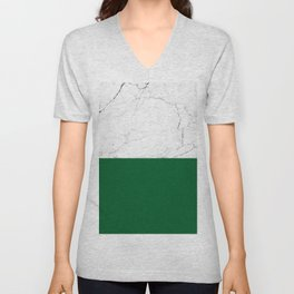 emerald green and white marble Unisex V-Neck