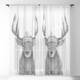 Let's go outside (bw) Sheer Curtain