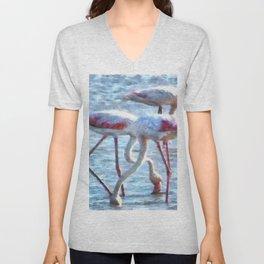 Flamingos Eating Watercolor Unisex V-Neck
