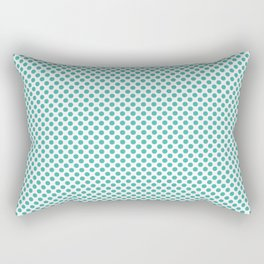 Turquoise Polka Dots Rectangular Pillow