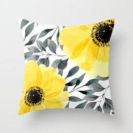 Gray flowers throw pillows society6 big yellow watercolor flowers throw pillow mightylinksfo