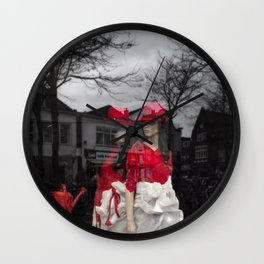 City girls with red hats Wall Clock