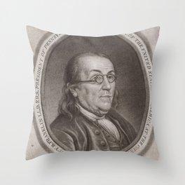 Vintage Portrait of Ben Franklin (1787) Throw Pillow