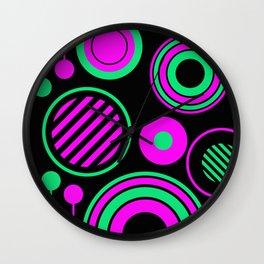 Retro Rings And Circles - Black, Purple And Green Wall Clock