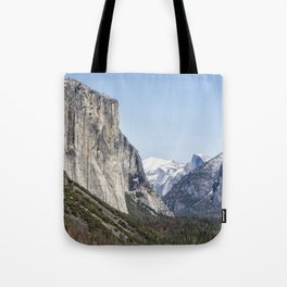 El Capitan, Half Dome and Sentinel Rock from Tunnel View Tote Bag