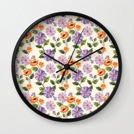 Rustic orange lavender ivory floral illustration Wall Clock