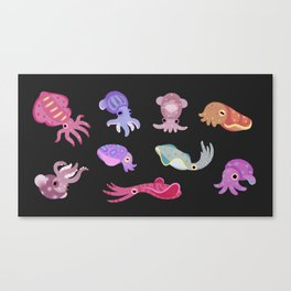 Squids - black Canvas Print