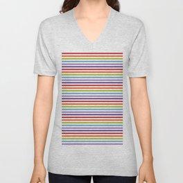 Modern artistic geometrical colorful violet orange green stripes Unisex V-Neck