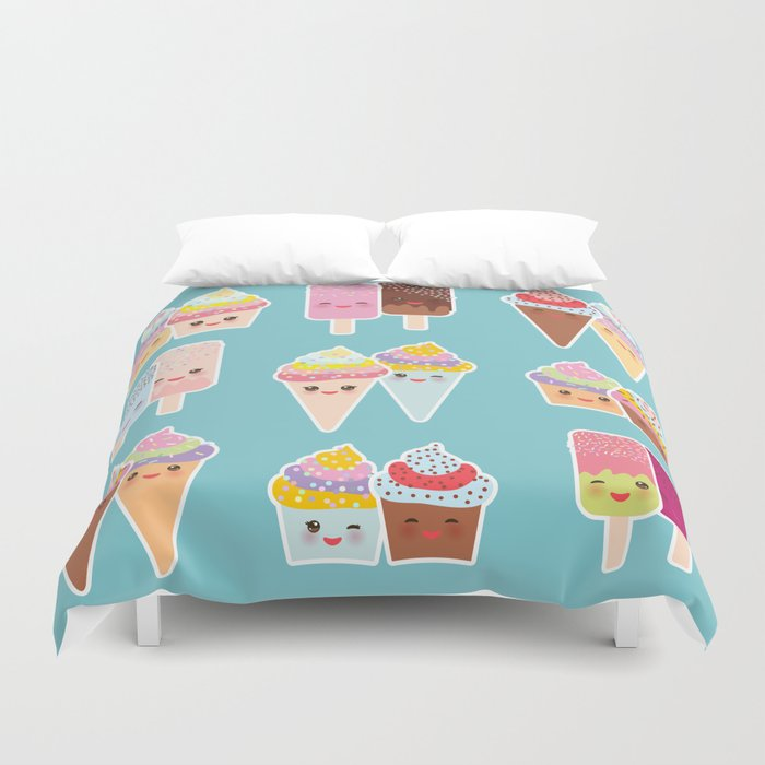Kawaii cupcakes, ice cream in waffle cones, ice lolly Duvet Cover