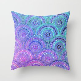 Aqua Blue Purple and Pink Sparkling Glitter Circles Throw Pillow