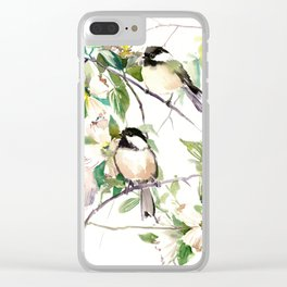 Chickadees and Dogwood Flowers Clear iPhone Case