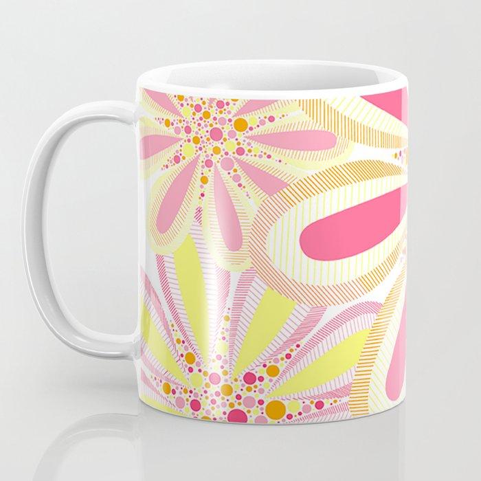 Bright Spring Pink and Orange Flowers Floral Illustration Coffee Mug