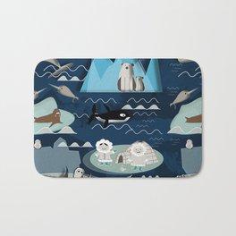 Arctic animals blue Bath Mat