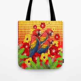 GREEN TROPICAL YELLOW MACAWS & RED YELLOW HIBISCUS Tote Bag
