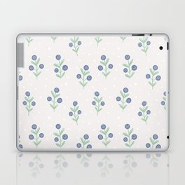 Mauve pink white blue hand painted polka dots floral Laptop & iPad Skin