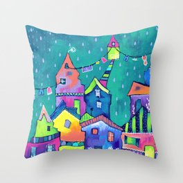 Wet Clothes Throw Pillow