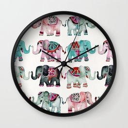 Elephant Collection – Turquoise & Coral Palette Wall Clock