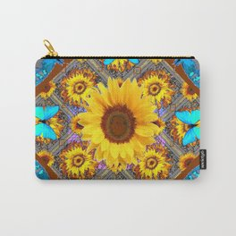 WESTERN SUNFLOWER BUTTERFLIES COFFEE BROWN Carry-All Pouch