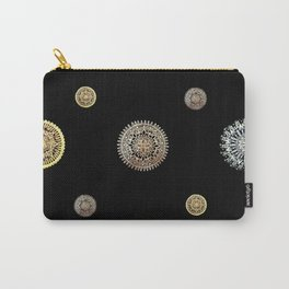 Silver, Gold, and Rose Gold 'Random' Textile on Black Carry-All Pouch