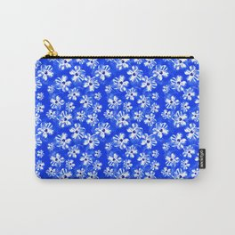 Blue Tropical Flower Pattern Carry-All Pouch