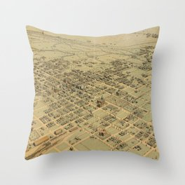 Vintage Pictorial Map of Bakersfield CA (1901) Throw Pillow