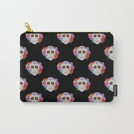 Sugar Skull with Flowers on Black Carry-All Pouch