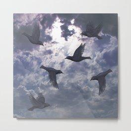 crows in the stormy sky Metal Print