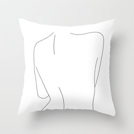 Nude back line drawing illustration - Drew Throw Pillow