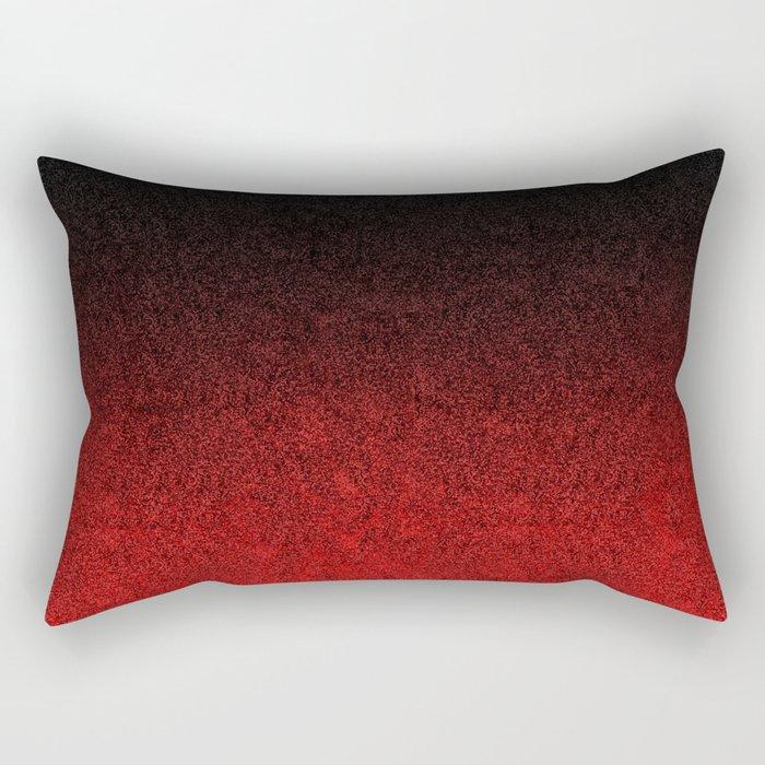 Red & Black Glitter Gradient Rectangular Pillow