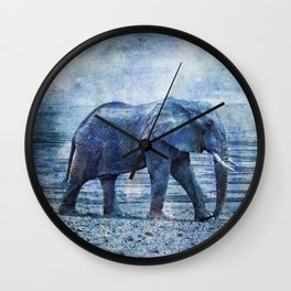 The Elephants Journey Blue Moon Wall Clock