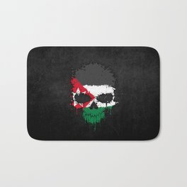 Flag of Jordan on a Chaotic Splatter Skull Bath Mat