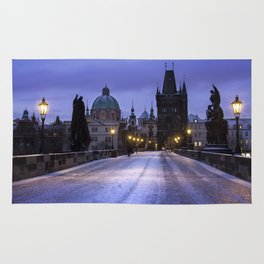 Winter and Snow at the Charles Bridge, Prague Rug