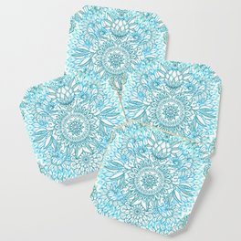 Turquoise Blue, Teal & White Protea Doodle Pattern Coaster