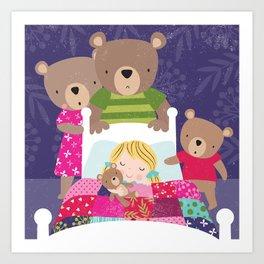 Goldilocks and the 3 Bears Art Print