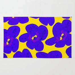 Blue Retro Flowers Yellow Background #society6 #decor #buyart Rug