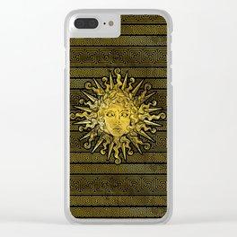 Apollo Sun Symbol on Greek Key Pattern Clear iPhone Case