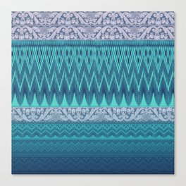 crochet mixed with lace in teal Canvas Print