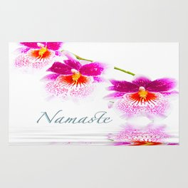 Namasta White And Pink Orchids Rug
