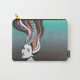 Girl with long colored waves hair Carry-All Pouch