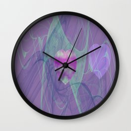 Heart Art- Abstract Art- Now or Later- Pink Heart- Purple Heart-Green-Pattern Art- Sacred Geometry Wall Clock