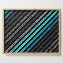 stripeS : Slate Gray Teal Blue Pixels Serving Tray