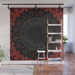 Red and Black Bohemian Mandala Design Wall Mural
