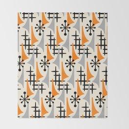 Mid Century Modern Atomic Wing Composition Orange & Gray Throw Blanket
