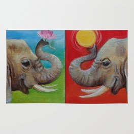 Happy Elephant Pop Art painting Fun colorful illustration Checker Red Yellow Blue Green Ball Rug