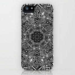 mandala mystery bw iPhone Case
