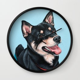 Happy Shiba Inu Puppy Painting, Black Shiba Artwork, Portrait of a Happy Shiba Inu Wall Clock