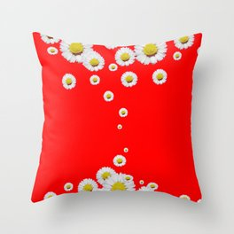 CHINESE RED WHITE DAISIES MODERN ART Throw Pillow