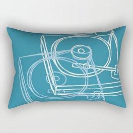 Blue Record Player Rectangular Pillow